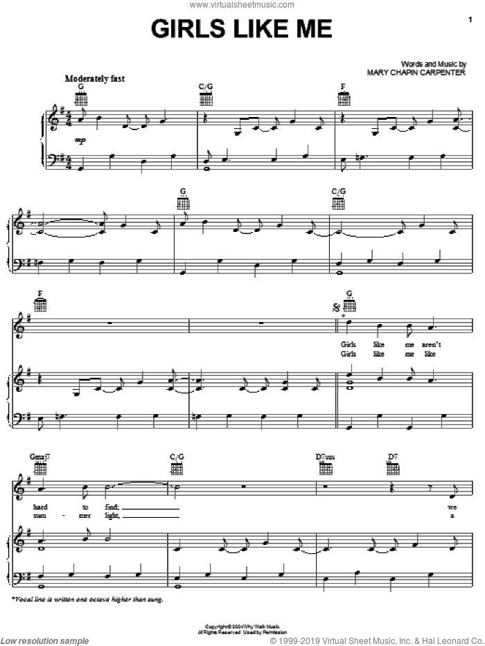 Girls Like Me sheet music for voice, piano or guitar by Mary Chapin Carpenter, intermediate skill level