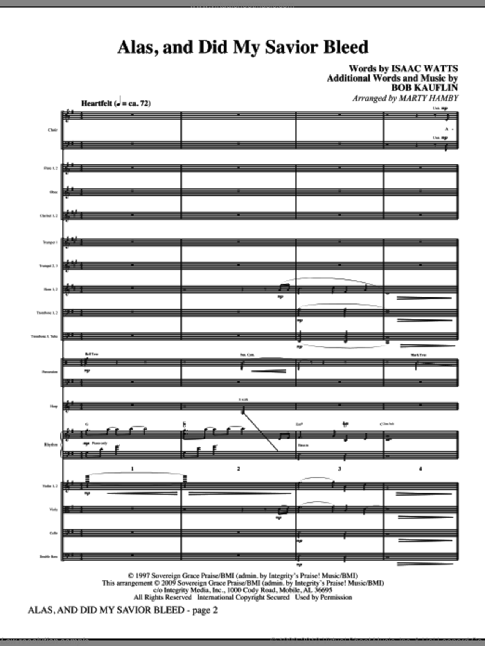 Alas, And Did My Savior Bleed (COMPLETE) sheet music for orchestra/band (Orchestra) by Isaac Watts, Bob Kauflin and Marty Hamby, intermediate skill level