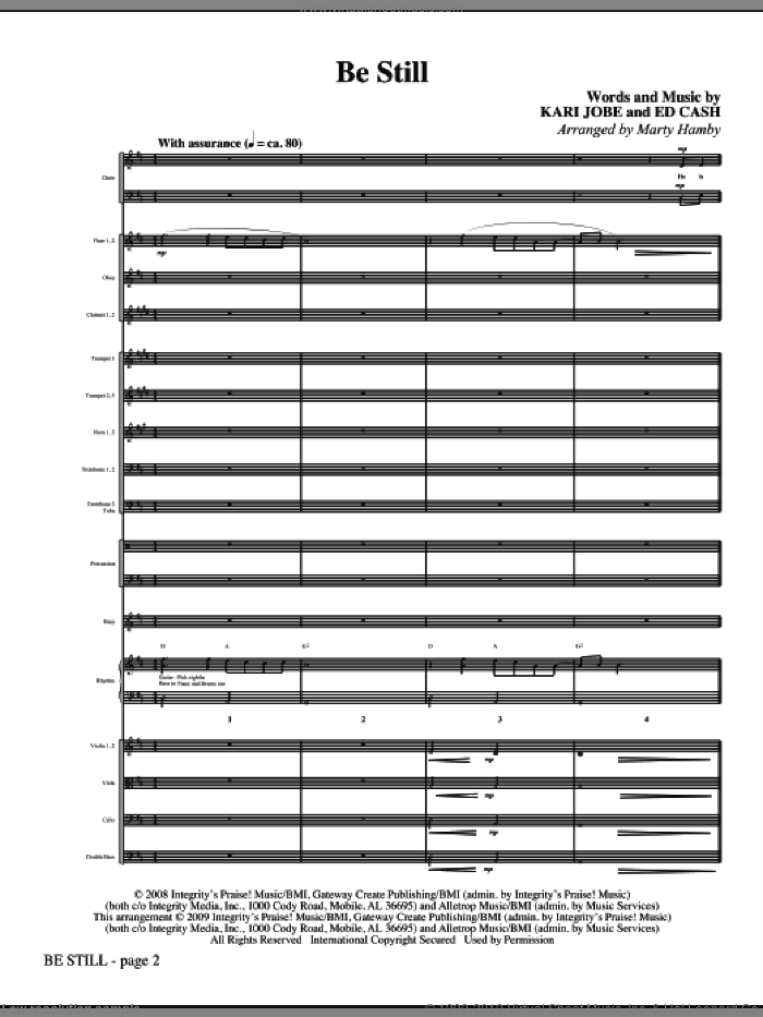 Be Still (COMPLETE) sheet music for orchestra/band (Orchestra) by Ed Cash, Kari Jobe and Marty Hamby, intermediate skill level