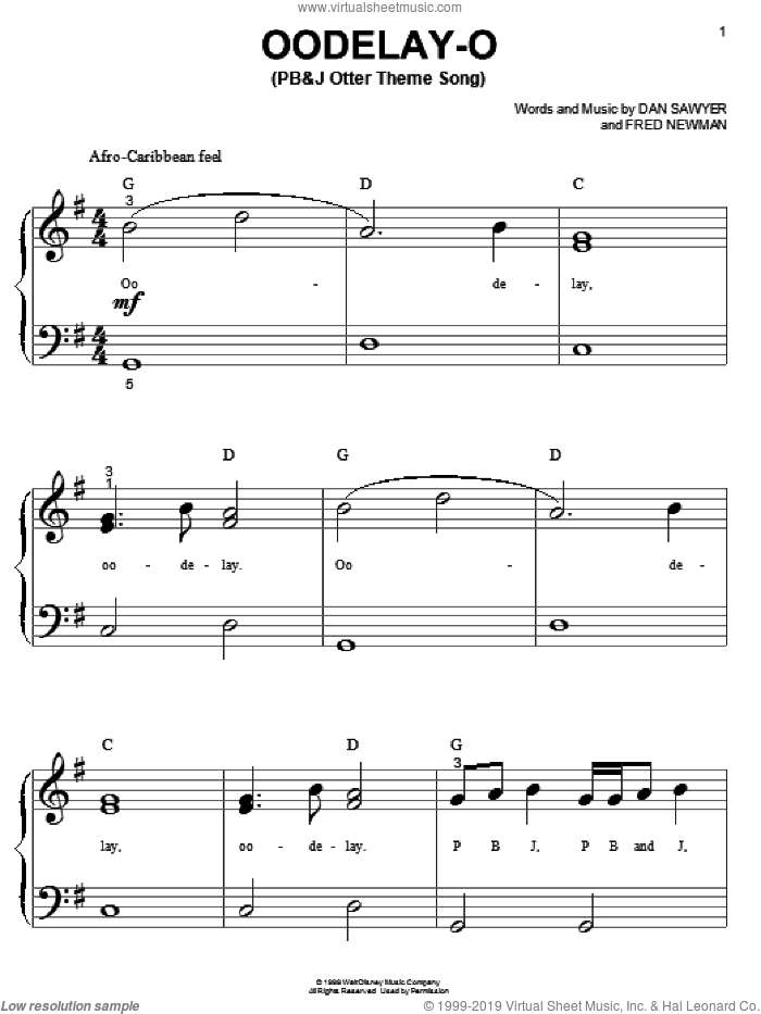 Oodelay-O (PB&J Otter Theme Song) sheet music for piano solo (big note book) by Dan Sawyer and Fred Newman, easy piano (big note book)
