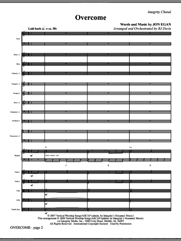 Overcome (COMPLETE) sheet music for orchestra/band (Orchestra) by Jon Egan and BJ Davis, intermediate skill level