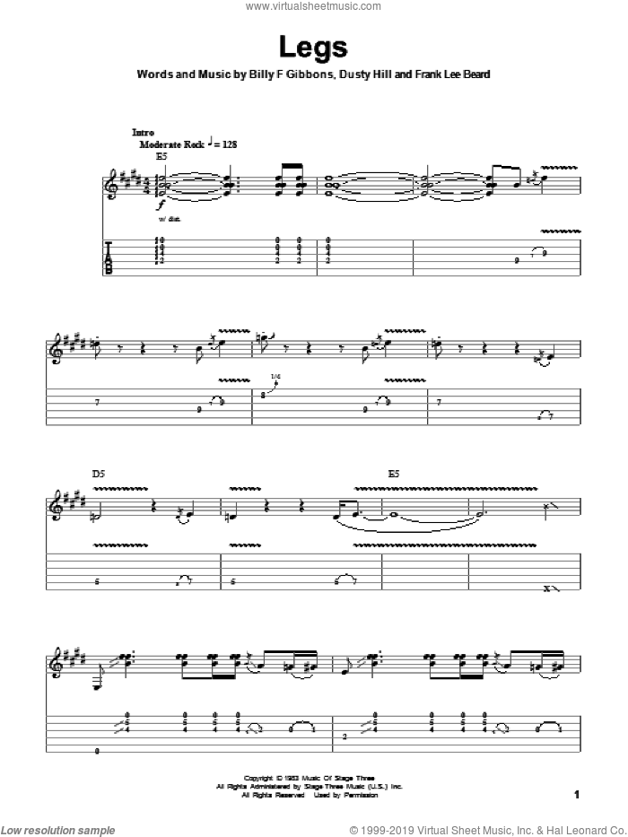 Legs sheet music for guitar (tablature, play-along) by ZZ Top, Billy Gibbons, Dusty Hill and Frank Beard, intermediate skill level