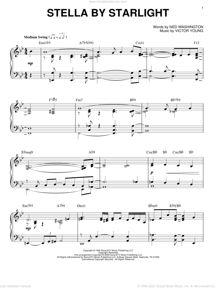 Stella By Starlight, (intermediate) sheet music for piano solo by Victor Young and Ned Washington, intermediate skill level