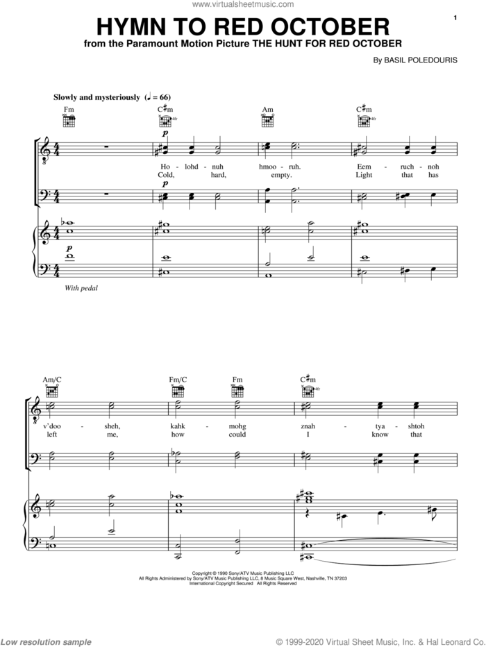 Hymn To Red October sheet music for voice, piano or guitar by Basil Poledouris, intermediate skill level