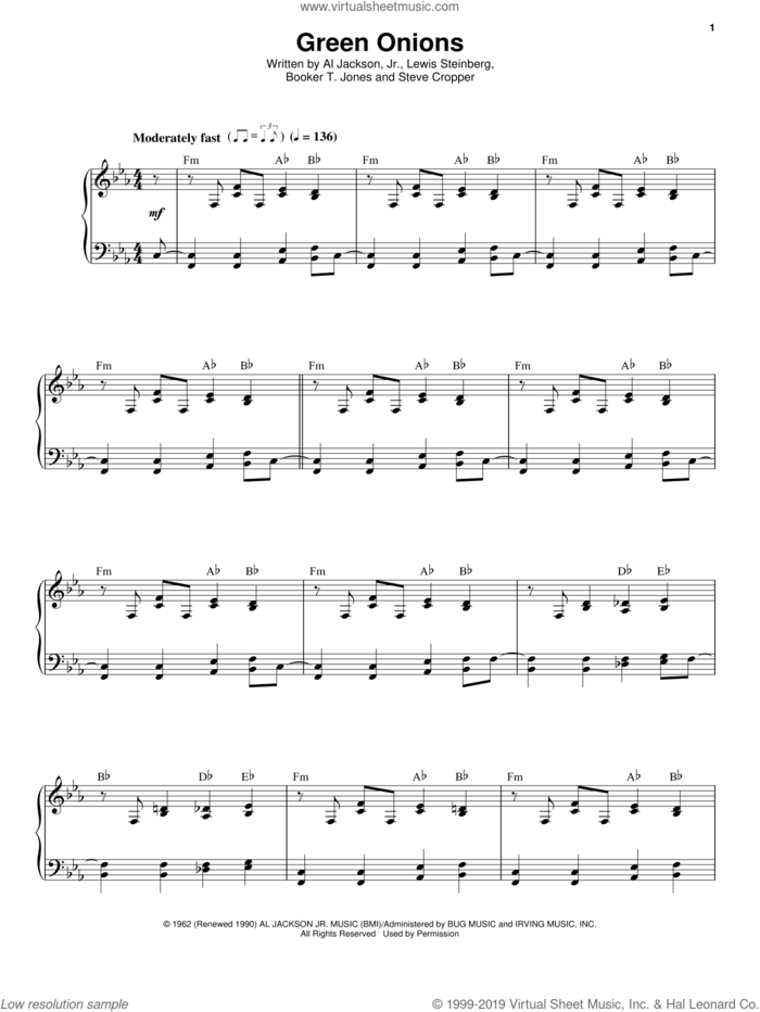 Green Onions sheet music for voice and piano by Booker T. & The MG's, Al Jackson Jr., Booker T. Jones, Lewis Steinberg and Steve Cropper, intermediate skill level