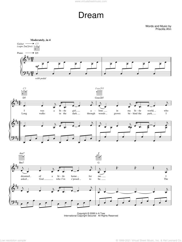 Dream sheet music for voice, piano or guitar by Priscilla Ahn, intermediate skill level