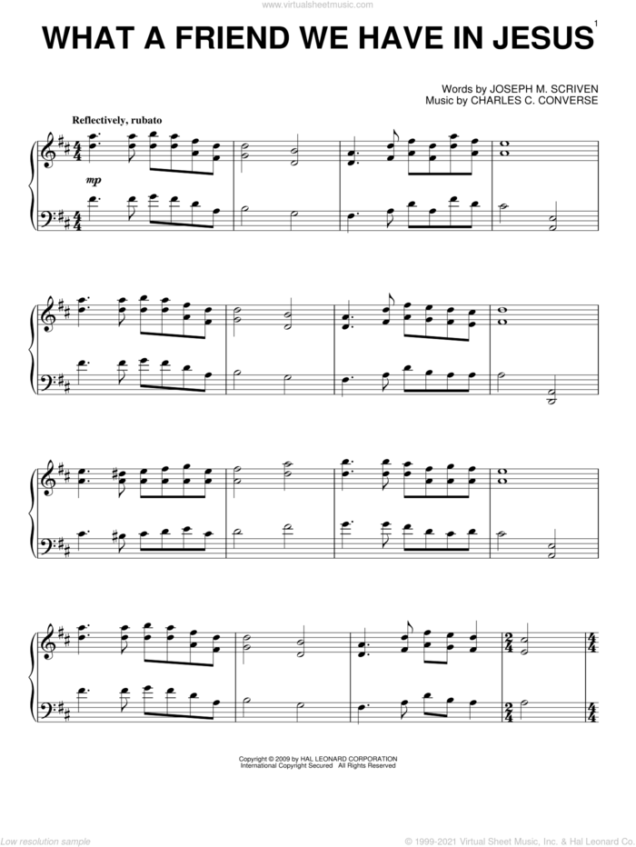 What A Friend We Have In Jesus, (intermediate) sheet music for piano solo by Joseph M. Scriven and Charles C. Converse, intermediate skill level