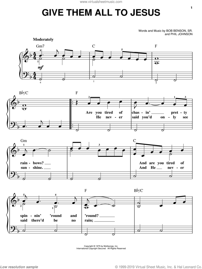 Give Them All To Jesus sheet music for piano solo by Bo Benson Sr. and Phil Johnson, easy skill level