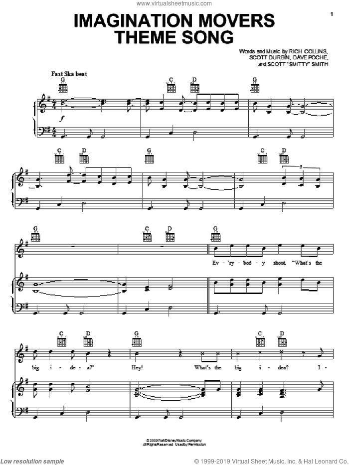 Imagination Movers Theme Song sheet music for voice, piano or guitar by Imagination Movers, Dave Poche, Rich Collins, Scott 'Smitty' Smith and Scott Durbin, intermediate skill level