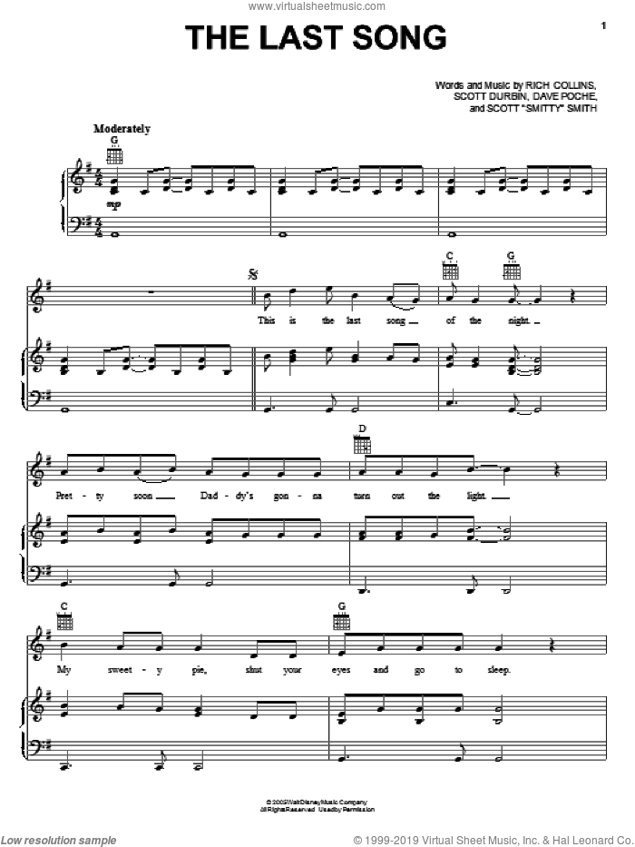 The Last Song sheet music for voice, piano or guitar by Imagination Movers, Dave Poche, Rich Collins, Scott 'Smitty' Smith and Scott Durbin, intermediate skill level
