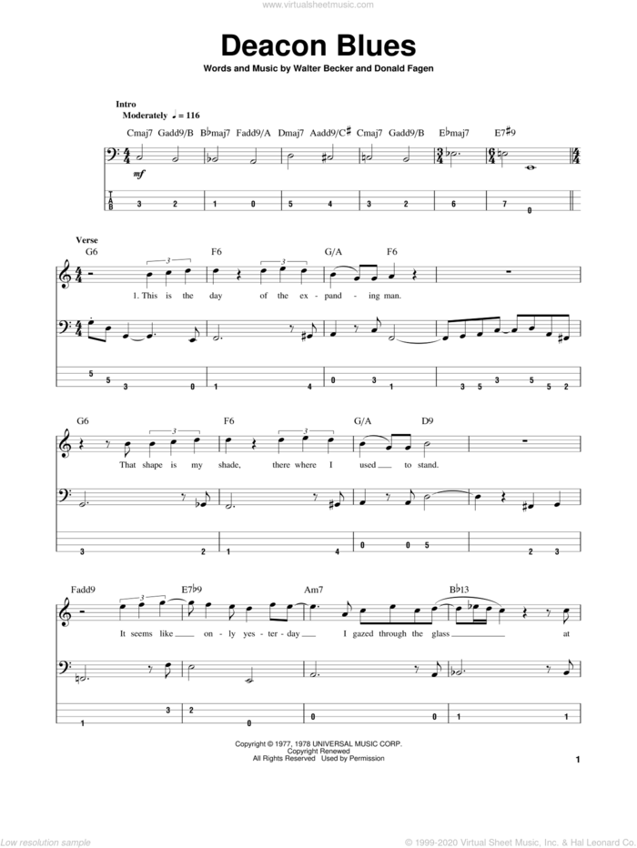 Deacon Blues sheet music for bass (tablature) (bass guitar) by Steely Dan, Donald Fagen and Walter Becker, intermediate skill level