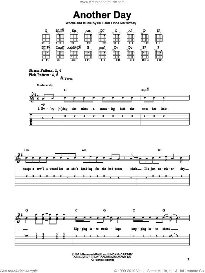 Another Day sheet music for guitar solo (easy tablature) by Paul McCartney and Linda McCartney, easy guitar (easy tablature)