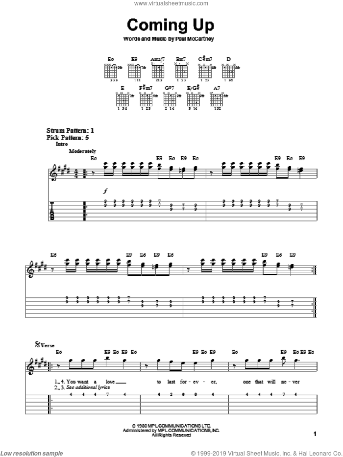 Coming Up sheet music for guitar solo (easy tablature) by Paul McCartney, easy guitar (easy tablature)