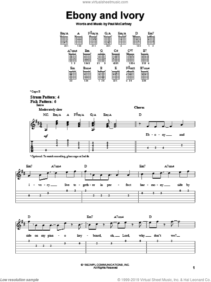 Ebony And Ivory sheet music for guitar solo (easy tablature) by Paul McCartney and Stevie Wonder, Stevie Wonder and Paul McCartney, easy guitar (easy tablature)