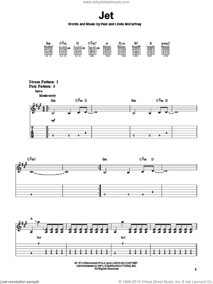 Jet sheet music for guitar solo (easy tablature) by Paul McCartney, Paul McCartney and Wings and Linda McCartney, easy guitar (easy tablature)