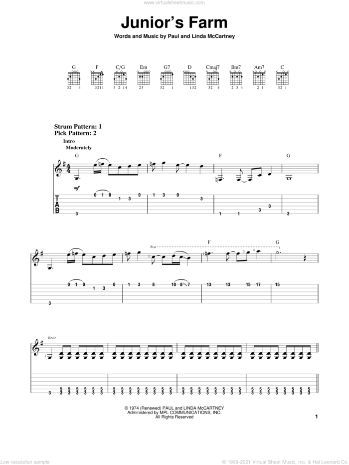 Junior's Farm sheet music for guitar solo (easy tablature) by Paul McCartney, Paul McCartney and Wings and Linda McCartney, easy guitar (easy tablature)