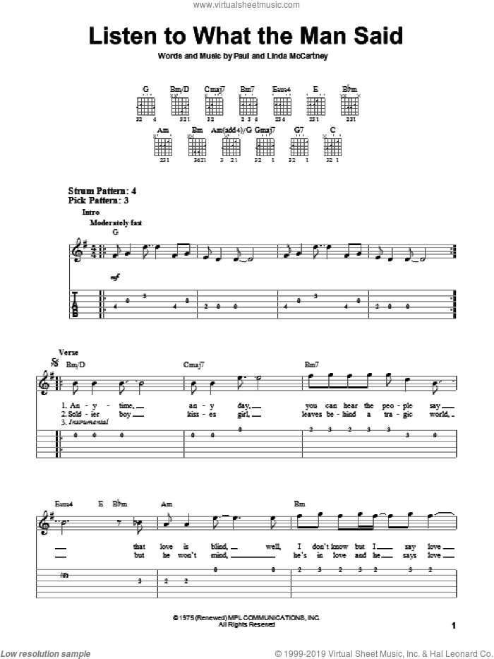 Listen To What The Man Said sheet music for guitar solo (easy tablature) by Paul McCartney, Paul McCartney and Wings and Linda McCartney, easy guitar (easy tablature)