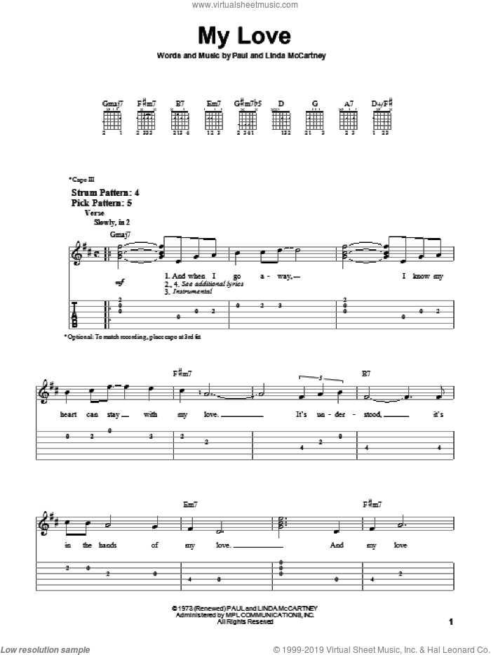 My Love sheet music for guitar solo (easy tablature) by Paul McCartney, Paul McCartney and Wings and Linda McCartney, easy guitar (easy tablature)