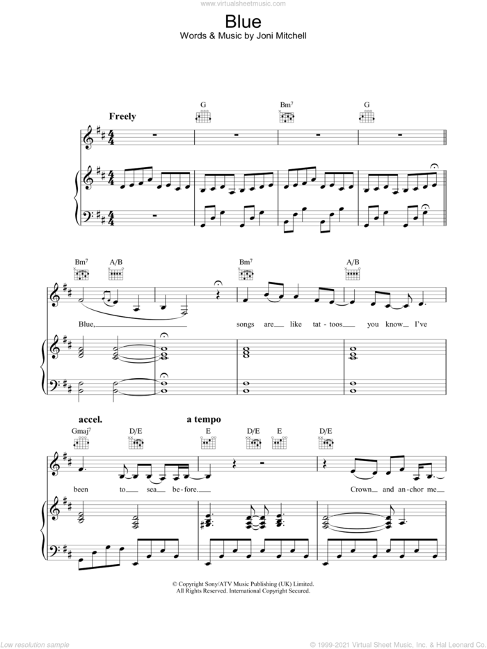 Blue sheet music for voice, piano or guitar by Joni Mitchell, intermediate skill level