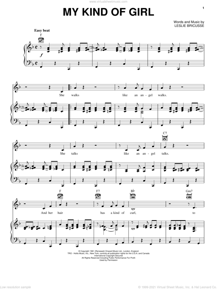 My Kind Of Girl sheet music for voice, piano or guitar by Matt Monro and Leslie Bricusse, intermediate skill level