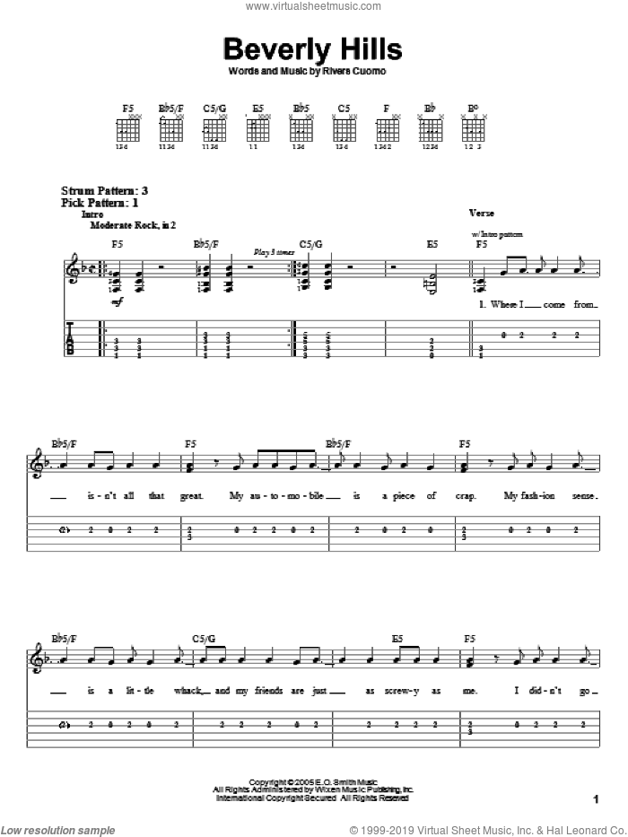 Beverly Hills sheet music for guitar solo (easy tablature) by Weezer and Rivers Cuomo, easy guitar (easy tablature)