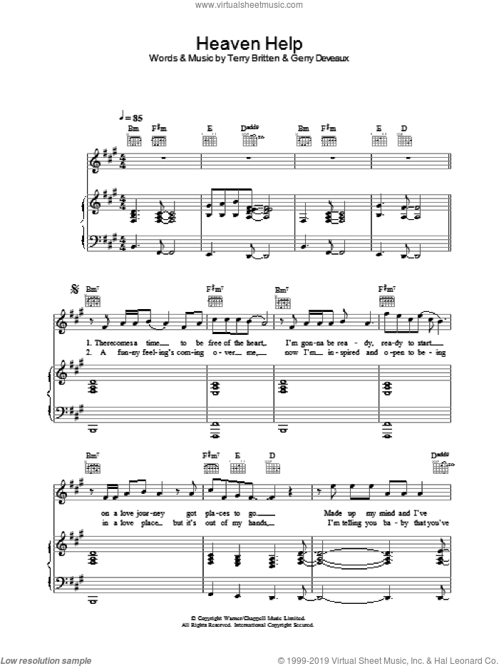 Heaven Help sheet music for voice, piano or guitar by Lenny Kravitz, intermediate skill level