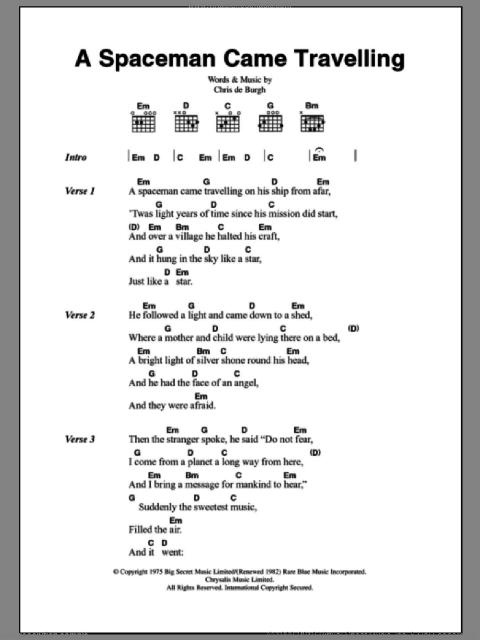 A Spaceman Came Travelling sheet music for guitar (chords) by Chris de Burgh, intermediate skill level