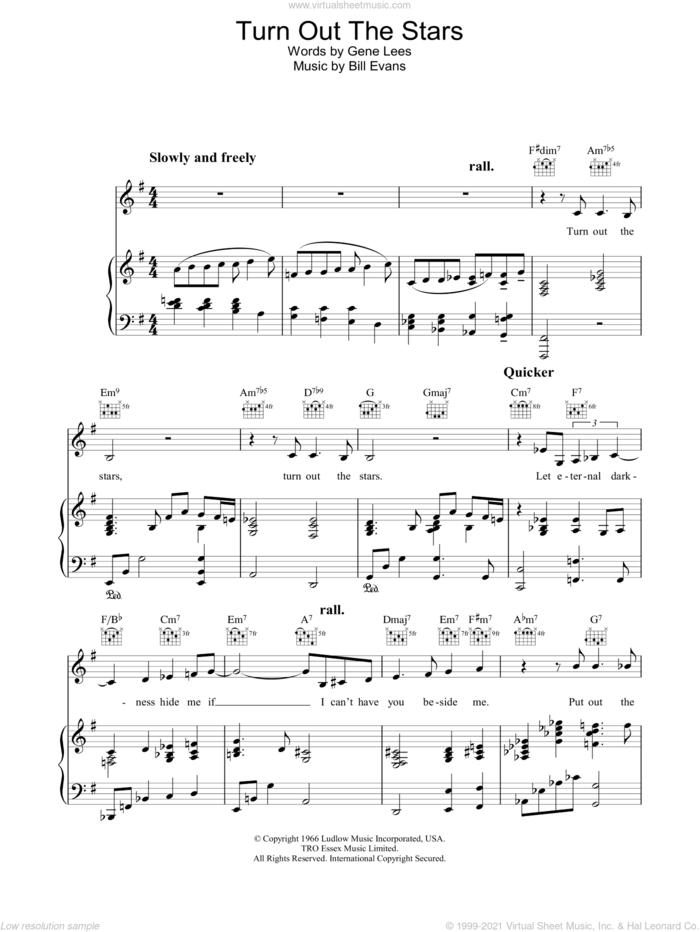 Turn Out The Stars sheet music for voice, piano or guitar by Jane Monheit, intermediate skill level