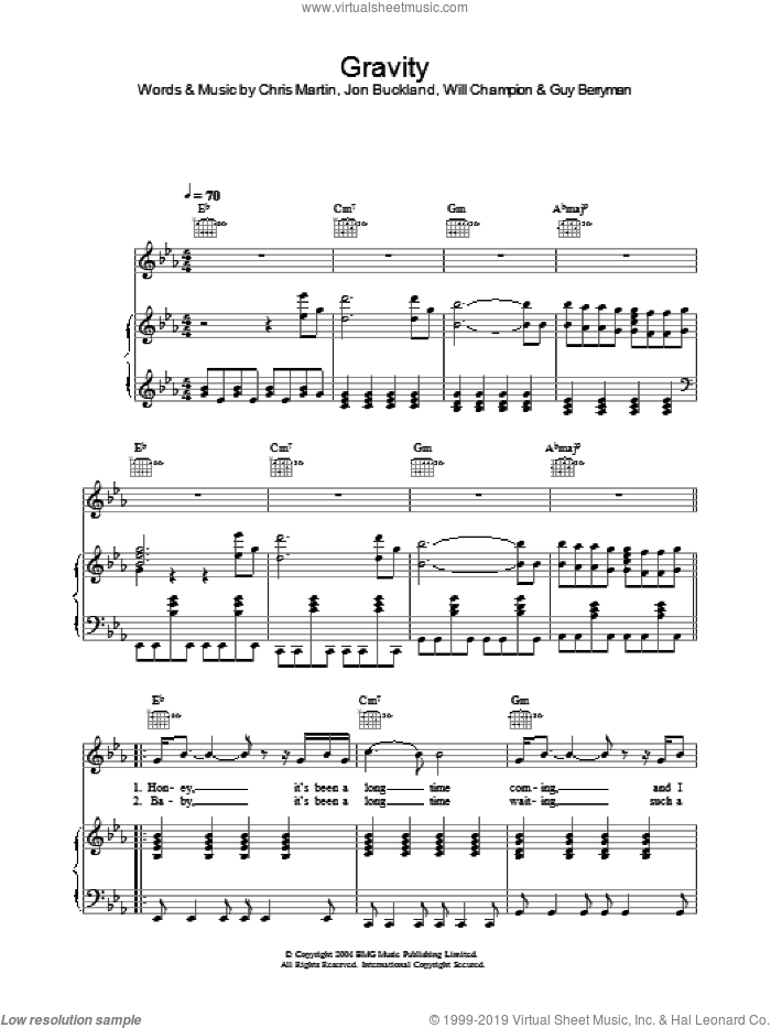 Gravity sheet music for voice, piano or guitar by Embrace, intermediate skill level