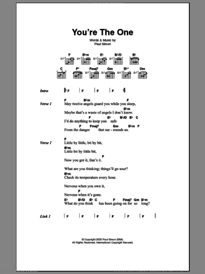You're The One sheet music for guitar (chords) by Paul Simon, intermediate skill level