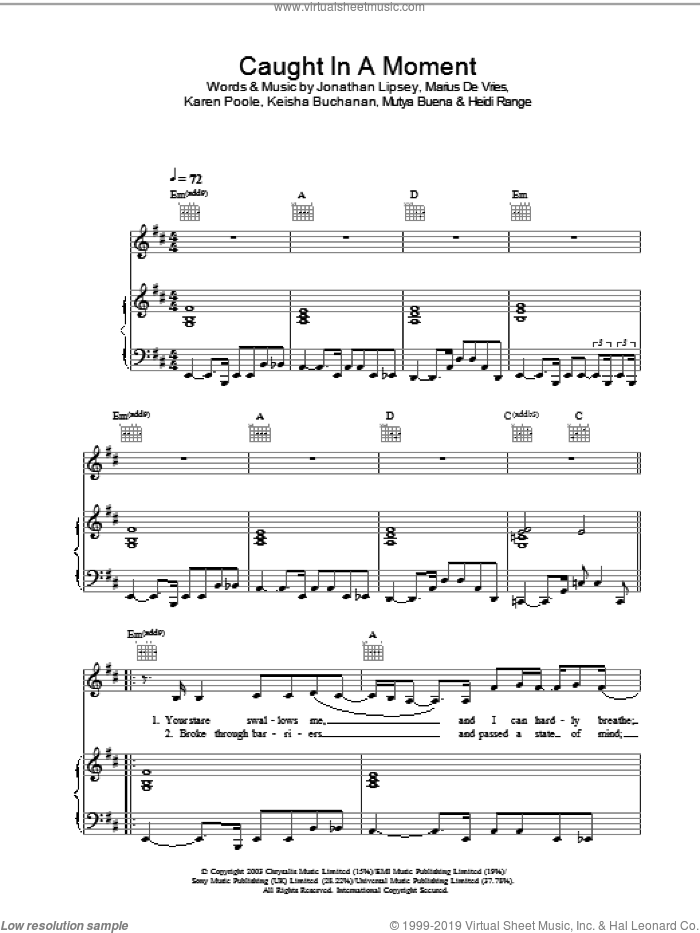 Caught In A Moment sheet music for voice, piano or guitar by Sugababes, intermediate skill level