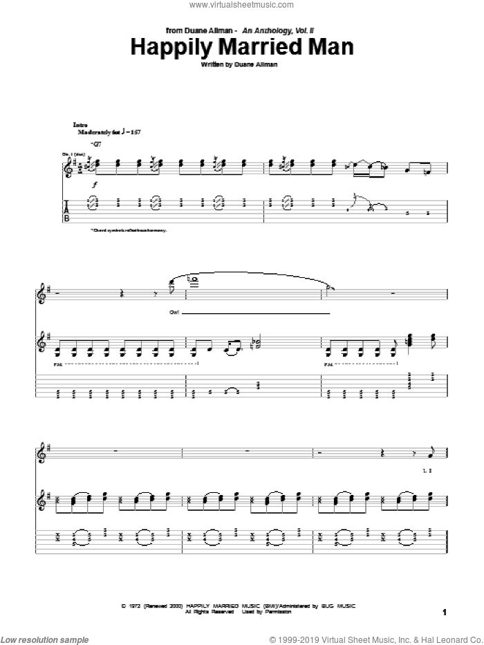 Happily Married Man sheet music for guitar (tablature) by Duane Allman, intermediate skill level