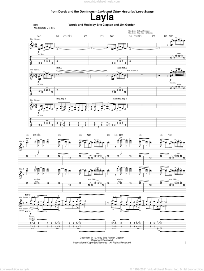 Layla sheet music for guitar (tablature) by Eric Clapton, Derek And The Dominos, Duane Allman and Jim Gordon, intermediate skill level