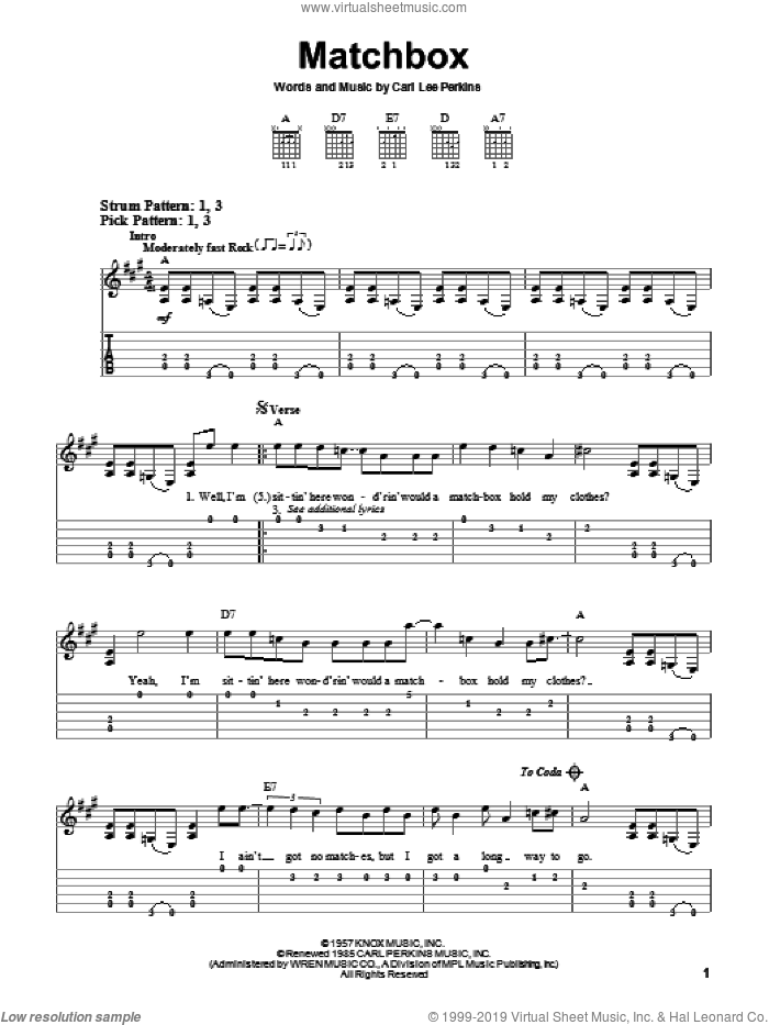 Matchbox sheet music for guitar solo (easy tablature) by Carl Perkins and The Beatles, easy guitar (easy tablature)