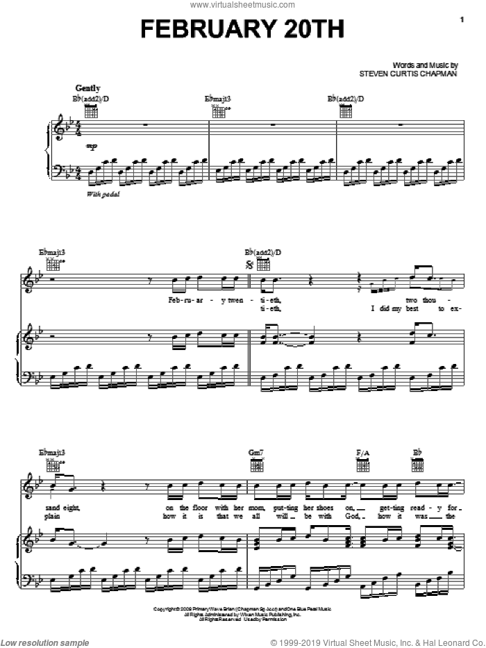 February 20th sheet music for voice, piano or guitar by Steven Curtis Chapman, intermediate skill level