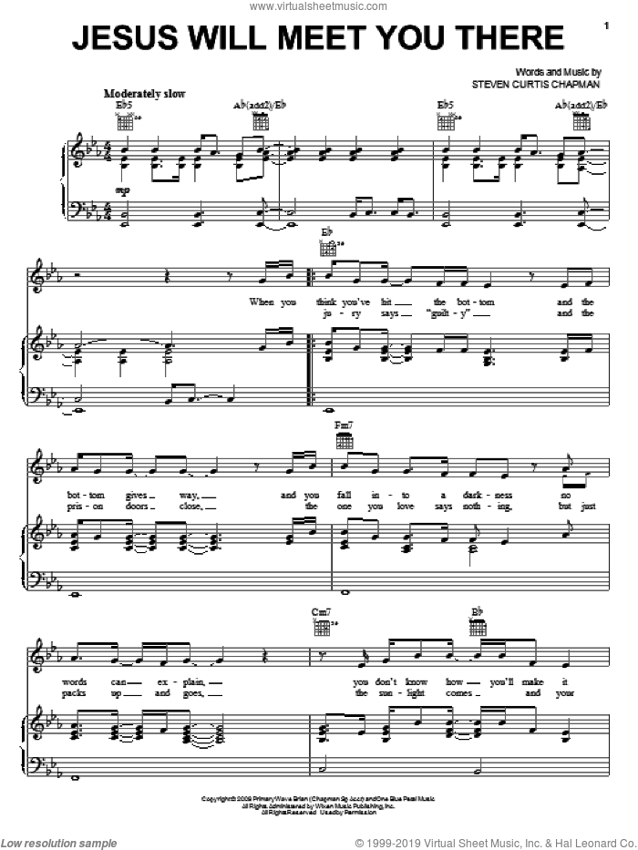 Jesus Will Meet You There sheet music for voice, piano or guitar by Steven Curtis Chapman, intermediate skill level