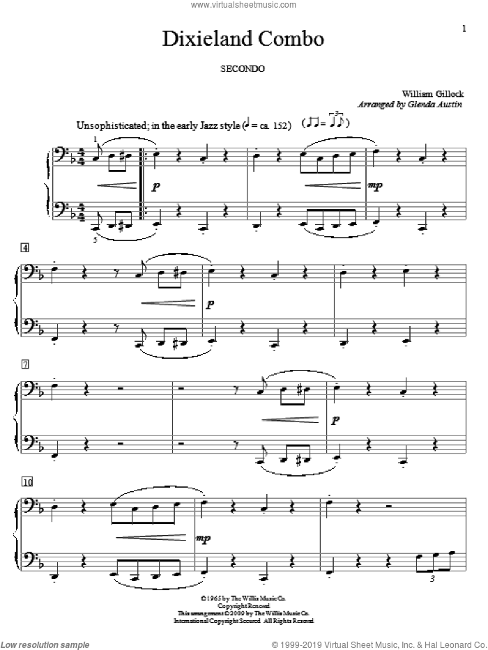 Dixieland Combo sheet music for piano four hands by William Gillock and Glenda Austin, intermediate skill level