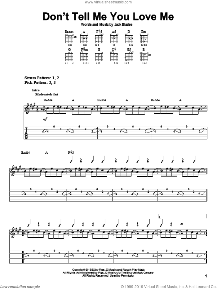 Don't Tell Me You Love Me sheet music for guitar solo (easy tablature) by Night Ranger and Jack Blades, easy guitar (easy tablature)