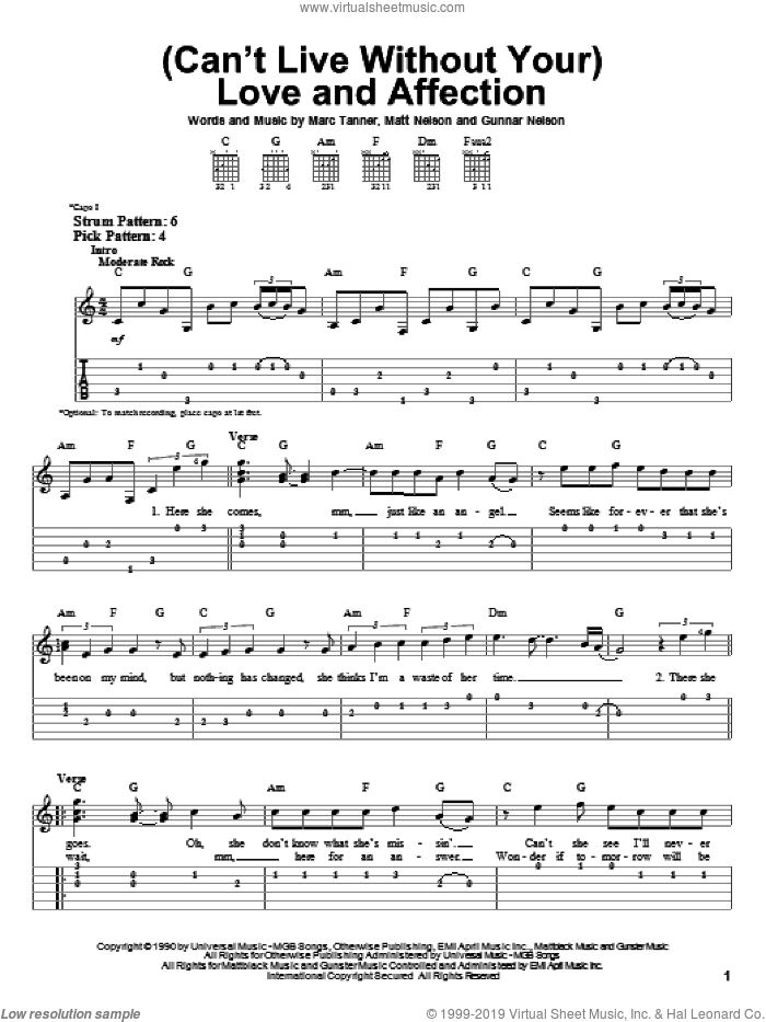 (Can't Live Without Your) Love And Affection sheet music for guitar solo (easy tablature) by Nelson, Gunnar Nelson, Marc Tanner and Matt Nelson, easy guitar (easy tablature)