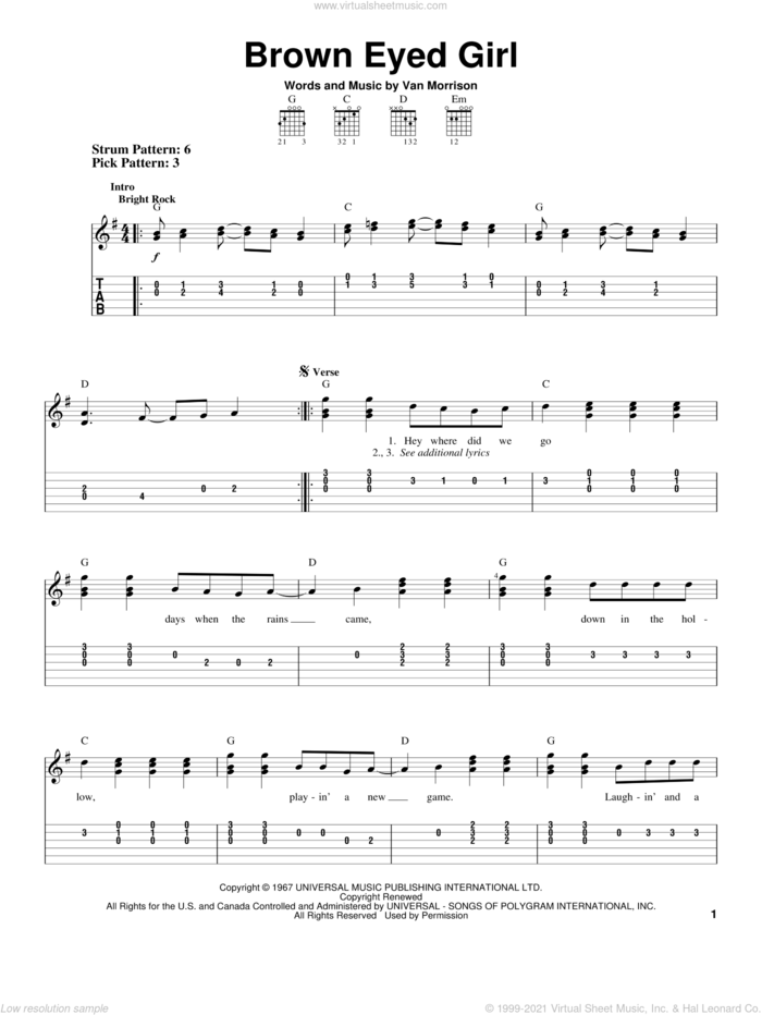 Brown Eyed Girl sheet music for guitar solo (easy tablature) by Van Morrison, easy guitar (easy tablature)