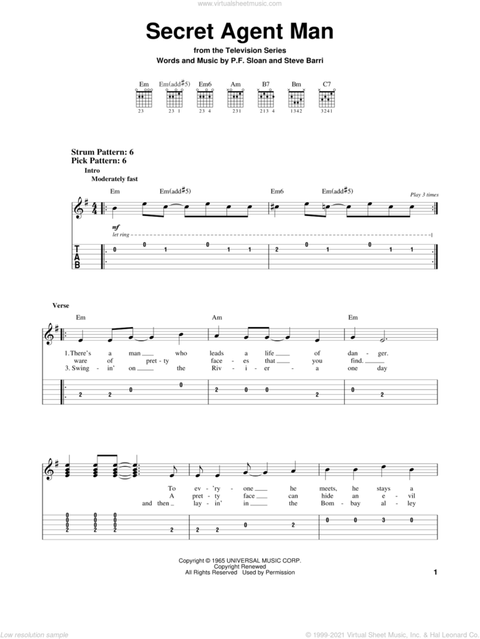Secret Agent Man sheet music for guitar solo (easy tablature) by Johnny Rivers, P.F. Sloan and Steve Barri, easy guitar (easy tablature)