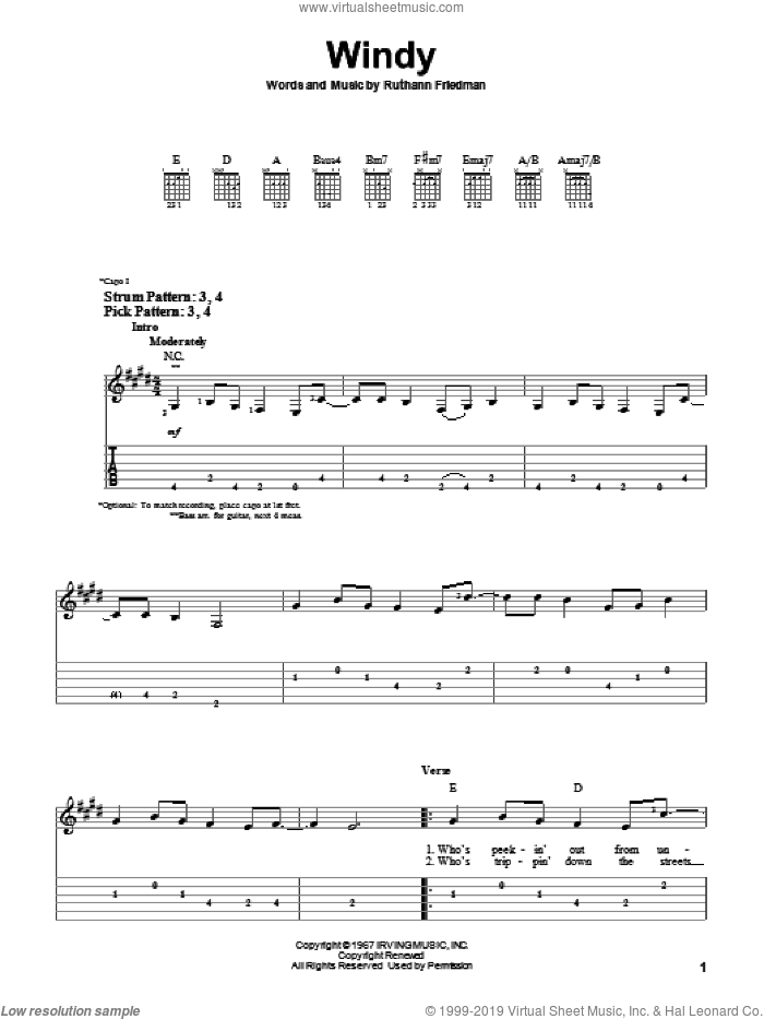 Windy sheet music for guitar solo (easy tablature) by The Association and Ruthann Friedman, easy guitar (easy tablature)