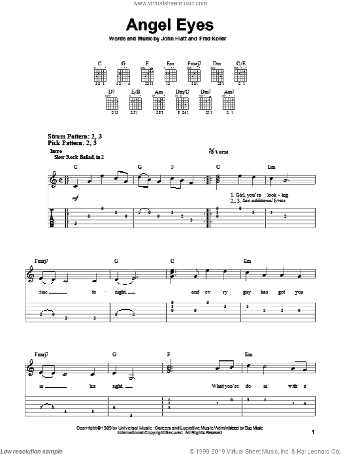 Angel Eyes sheet music for guitar solo (easy tablature) by Jeff Healey, Fred Koller and John Hiatt, easy guitar (easy tablature)