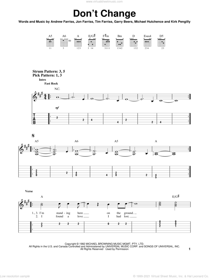 Don't Change sheet music for guitar solo (easy tablature) by INXS, Andrew Farriss, Garry Beers, Jon Farriss, Kirk Pengilly, Michael Hutchence and Tim Farriss, easy guitar (easy tablature)