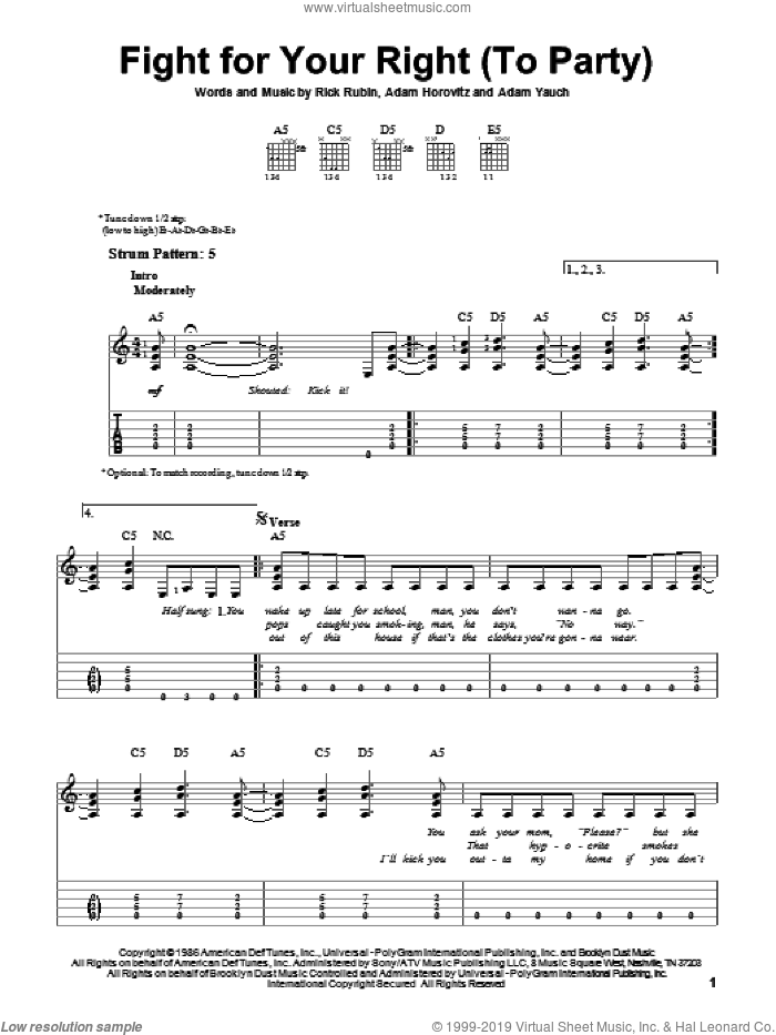 Fight For Your Right (To Party) sheet music for guitar solo (easy tablature) by Beastie Boys, Adam Horovitz, Adam Yauch and Rick Rubin, easy guitar (easy tablature)
