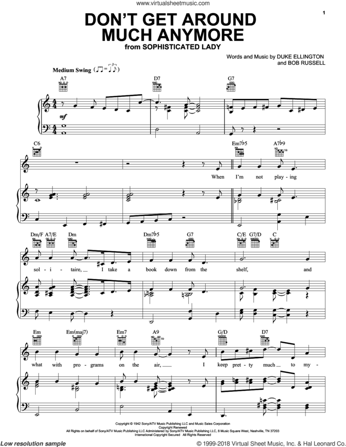 Don't Get Around Much Anymore sheet music for voice, piano or guitar by Duke Ellington, Rod Stewart and Bob Russell, intermediate skill level