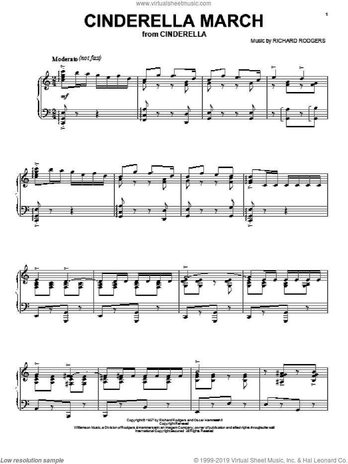 Cinderella March sheet music for voice, piano or guitar by Richard Rodgers, Cinderella (Musical) and Rodgers & Hammerstein, intermediate skill level