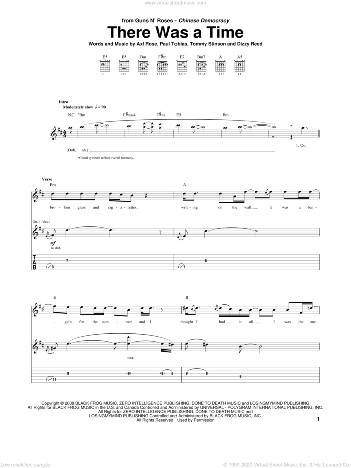 There Was A Time sheet music for guitar (tablature) by Guns N' Roses, Axl Rose, Dizzy Reed, Paul Tobias and Tommy Stinson, intermediate skill level