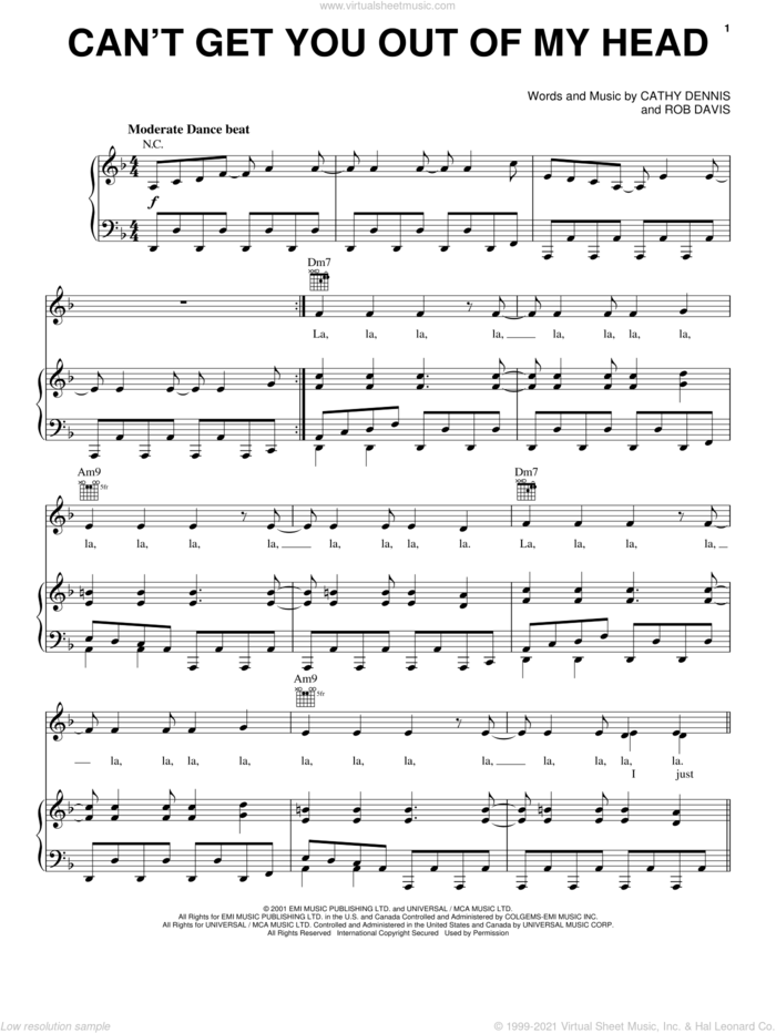 Can't Get You Out Of My Head sheet music for voice, piano or guitar by Kylie Minogue, Cathy Dennis and Rob Davis, intermediate skill level