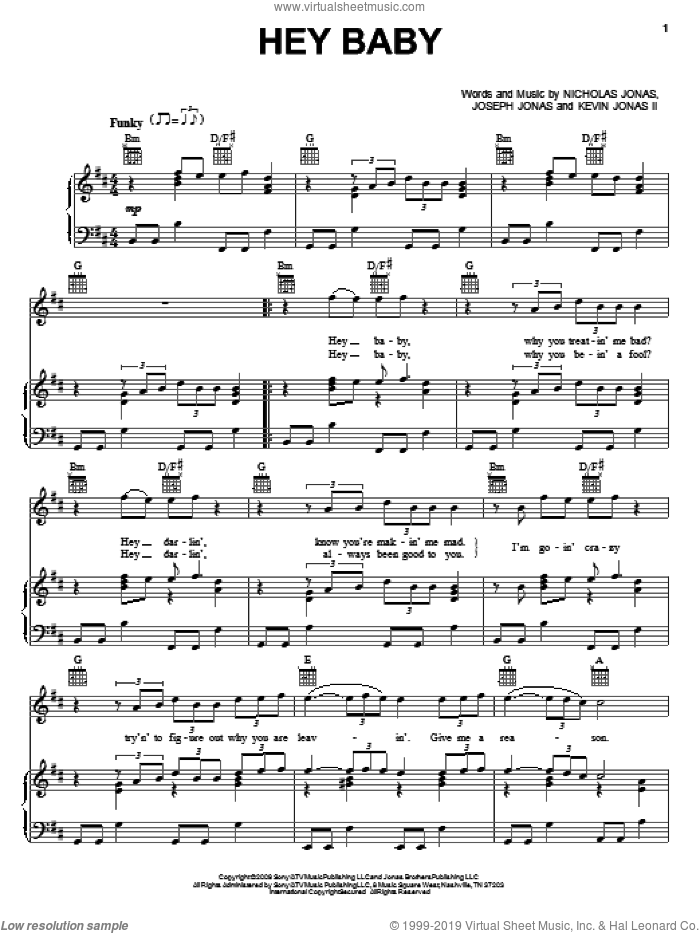 Hey Baby sheet music for voice, piano or guitar by Jonas Brothers, Joseph Jonas, Kevin Jonas II and Nicholas Jonas, intermediate skill level